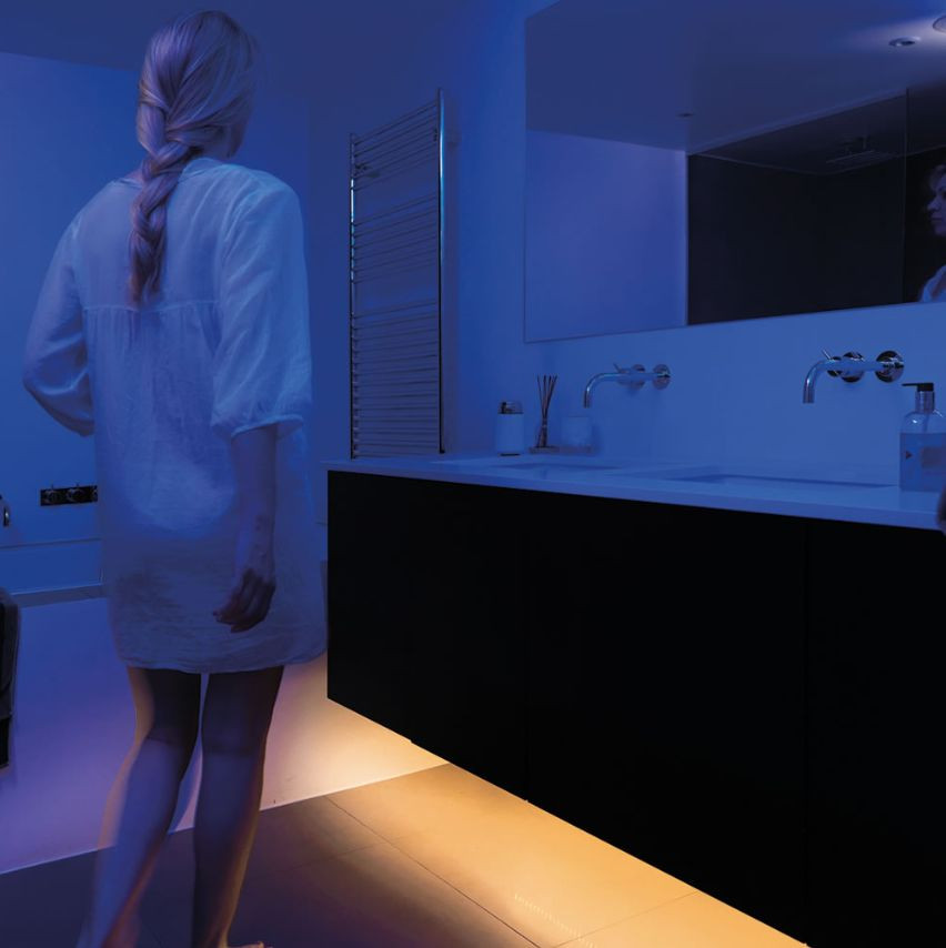 Under basin night lights activated by movement sensor