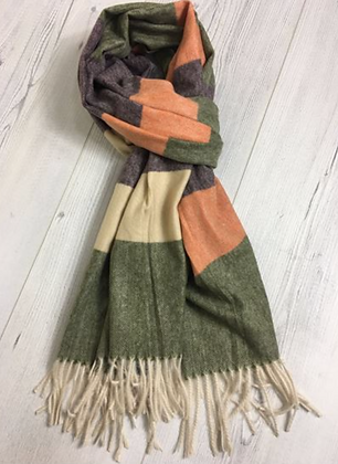 Fine Strings End Scarf - Green and orange