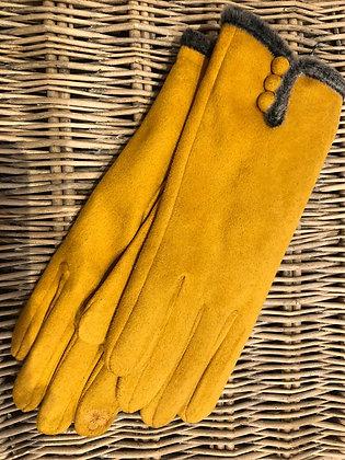 Faux Fur Trim Button Gloves - YELLOW