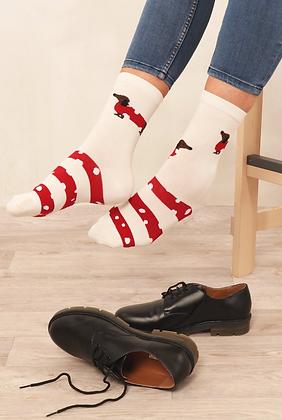 Cream Dog Bamboo Socks