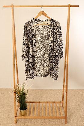 Light Grey Abstract Leopard Kimono