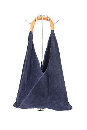 NAVY Large Suede Hobo Bag