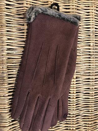 Faux Fur Trim Gloves - PURPLE