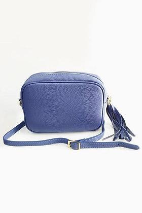 Italian Leather Cross Body Bag BLUE