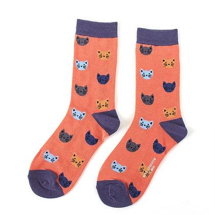 Miss Sparrow Orange Kitty Faces Bamboo Socks