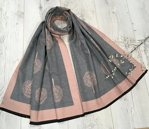 Tree Scarf with Strings End - Pink and grey