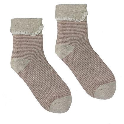 Cosy Wool Blend Cuff Socks Cream/Pink Stripe