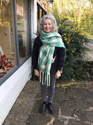 Chunky Scarf - Soft Green Check
