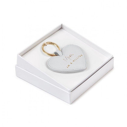 KATIE LOXTON BEAUTIFULLY BOXED SENTIMENT HEART KEYRING   MUM IN A MILLION   GREY