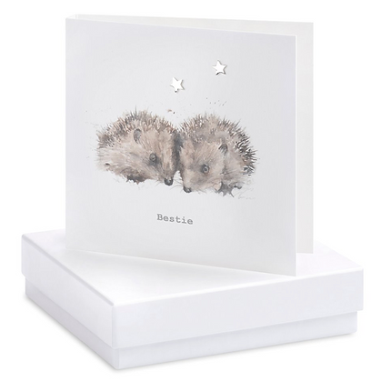 Boxed Earring Card Hedgehogs Bestie