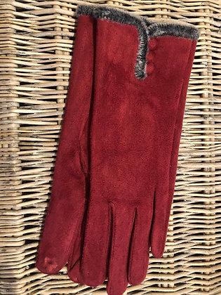 Faux Fur Trim Button Glove - RED