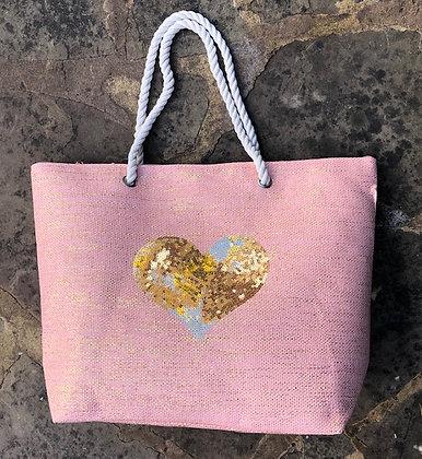 STRAITS Heart Beach Bag-Pink