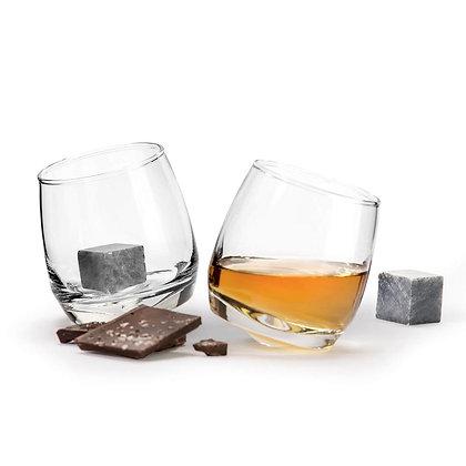 Set of 2 Rocking Whiskey Tumblers & Drink Stones