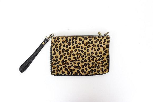 Soft Leather Clutch -  MINI LEOPARD PRINT SMALL