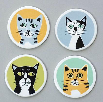 Hannah Turner - Handmade Ceramic Cat Coasters Box Set Of 4