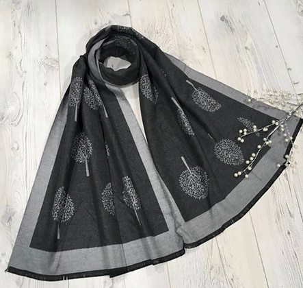 Tree Scarf with Strings End - Dark grey and grey