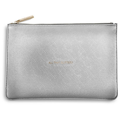 ALL THAT GLITTERS PERFECT POUCH - METALLIC SILVER