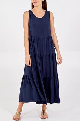 Open Back Tie Detail Tiered Midi Dress NAVY