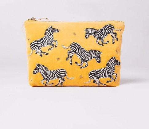Zebra Mustard Velvet Makeup Bag by ELIZABETH SCARLETT
