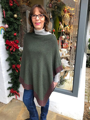 Khaki Poncho with Leopard Trim
