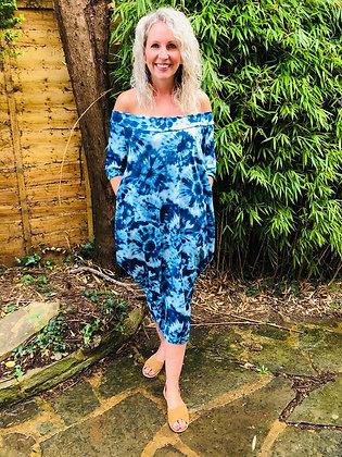 Off The Shoulder Parachute Dress -TIE DYE BLUE