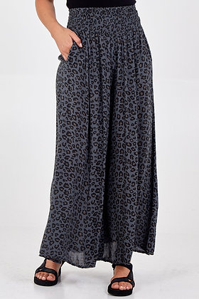 Leopard Print Ruched Waist Wide Leg Trousers CHARCOAL