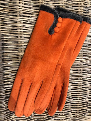 Faux Fur Trim Button Gloves - ORANGE