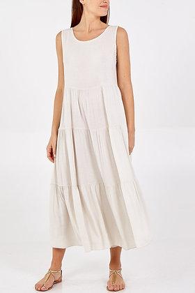Open Back Tie Detail Tiered Midi Dress STONE