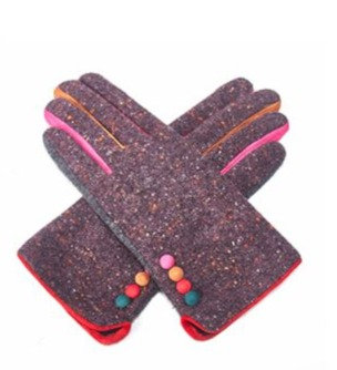 Colour Pop Tweed Gloves - PURPLE