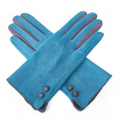 Contrast Button & Finger Detail Gloves -TEAL