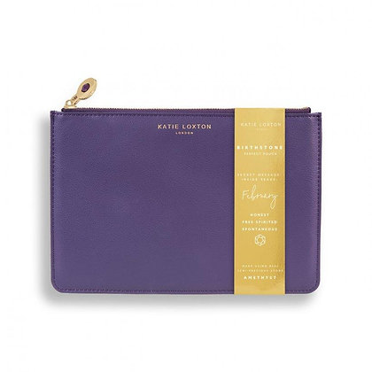KATIE LOXTON BIRTHSTONE PERFECT POUCH | FEBRUARY AMETHYST | PURPLE