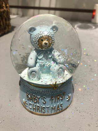 Baby's First Christmas Mini Snow Globe Blue