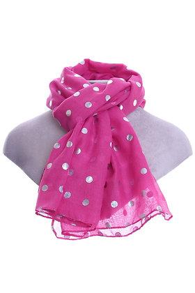 Metallic Spot Scarf - Pink