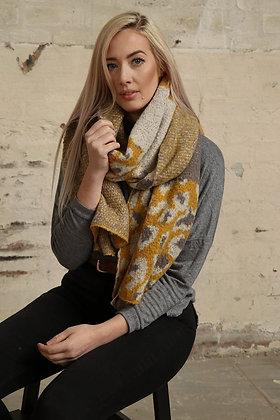 Leopard Blanket Scarf  - GREY/MUSTARD