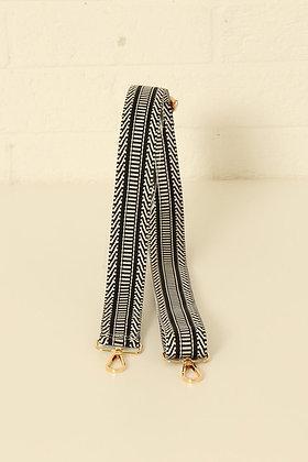 Diagonal Stripe Bag Strap BLACK/WHITE