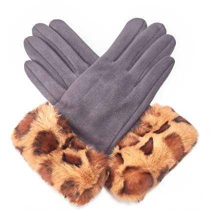 Animal Faux Fur Band Gloves- GREY