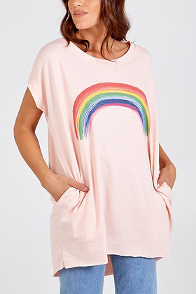 Rainbow Two Pocket Oversize Top - PINK