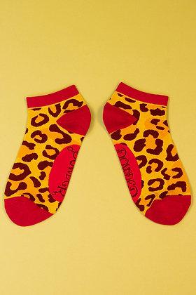 Ladies Trainer Socks Leopard Print
