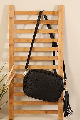 Italian Leather Cross Body Bag Black