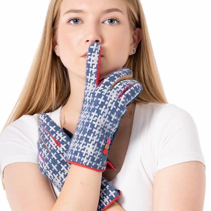 Tweed & Bright Button Detail Gloves - NAVY
