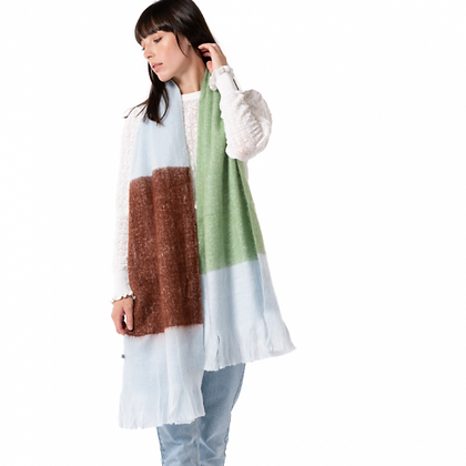 Colour Block Scarf - GREEN/BROWN