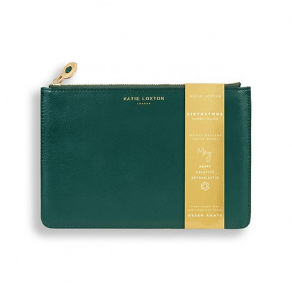 KATIE LOXTON BIRTHSTONE PERFECT POUCH | MAY GREEN AGATE | DARK GREEN