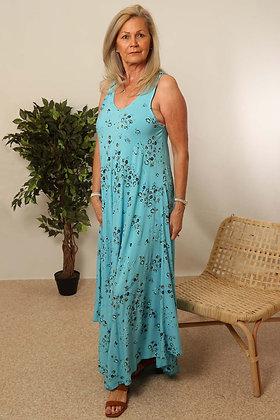 Light Blue Floral A Line Dress S/M