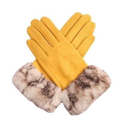Faux Fur Trimmed Suedette Gloves - MUSTARD