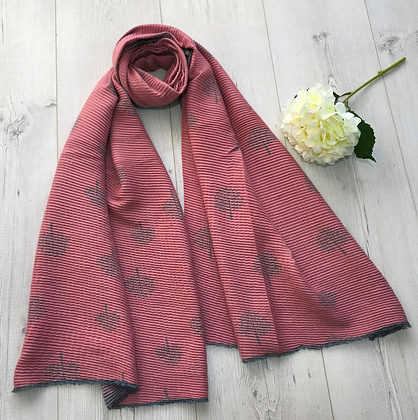 Tree Patterned Two tone Soft Crinkle Winter Scarf - Dusty Pink