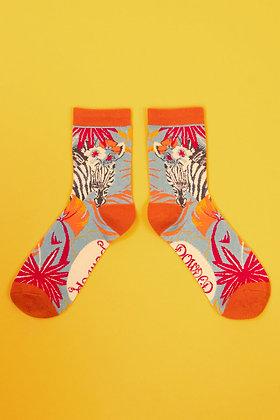 Ladies Ankle Socks Zebra