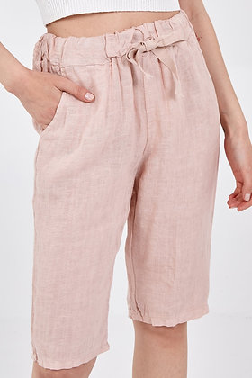 Linen Drawstring Shorts PINK