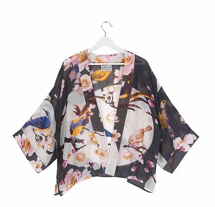 Kimono Blossom and Birds Charcoal
