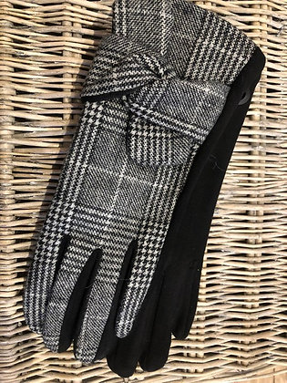 Checked Glove with Bow Detail- BLACK