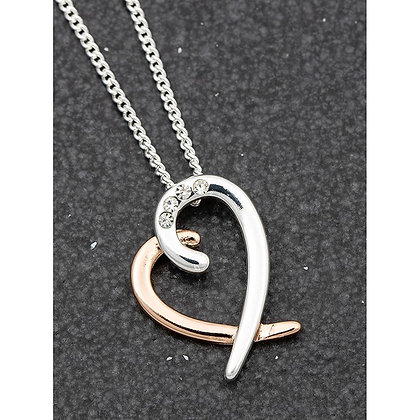 Silver and Gold Plated Two Tone Layered Heart Necklace